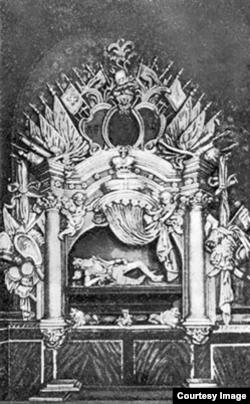 Надгробок князя Костянтина Острозького (ілюстрація з Вікіпедії)