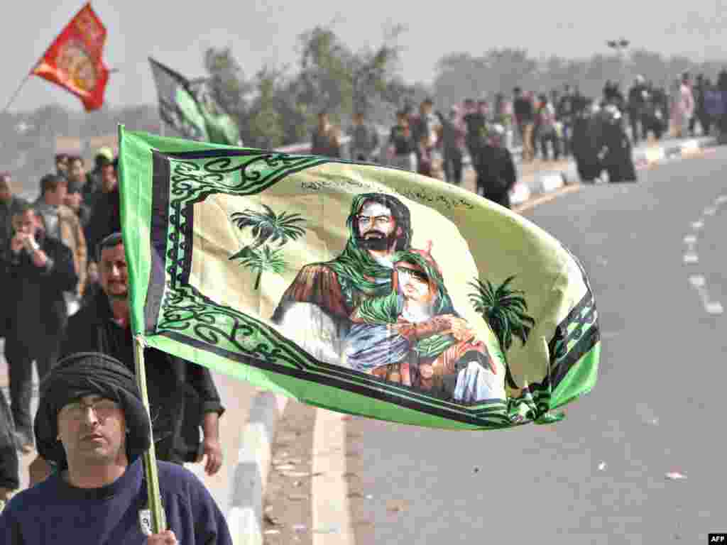Beatific images of Imam Hussein are conspicuous among Shi'a during events surrounding Muharram, including the pilgrimages to the site in modern Iraq of the Battle of Karbala.