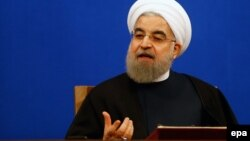 Iranian President Hassan Rohani gives a press conference to mark the first anniversary of the implementation of the nuclear deal in Tehran on Jaunary 17.