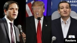 Kandidatët republikanë për president Marco Rubio (majtas), Donald Trump (në mes) dhe Ted Cruz