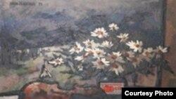 "Оскар Рабин. «Скрипка и ромашки». 1971 год. <a href = ""http://www.museum.ru/N34733"" target=_blank> Источник изображения сайт Museum.ru</a>."