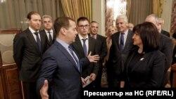 Министър-председателят на Русия Дмитрий Медведев и председателят на българския парламент Цвета Караянчева