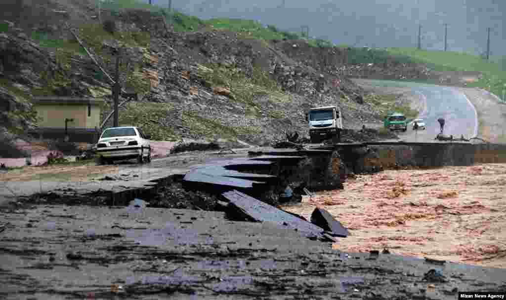 A damaged road in Khoramabad, Lorestan Province.