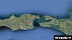 Керченский пролив на карте. Иллюстрация