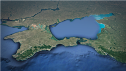 Map of Crimea, Sea of ​​Azov, Kerch Strait