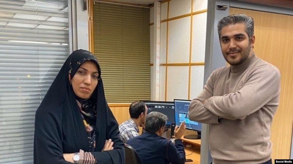 Iranian state TV IRIB reporters Ali Rezvani and Amena Sadat Zabihpour Reporters. File photo