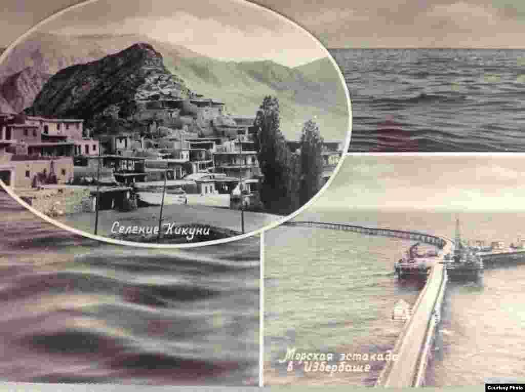 Селение Кикуни (слева) и морская эстакада в Избербаше (справа).