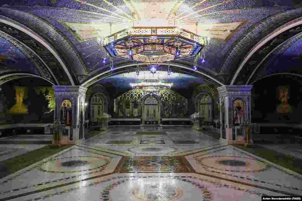 An interior view of the church reminiscent of some of Moscow's Stalin-era subway stations.