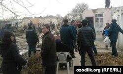Снос частных домов в старой части города Ташкента, 19 декабря 2017 года.