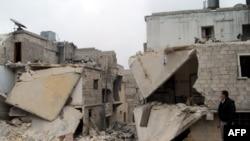 أحد أحياء مدينة حلب بعد تعرضه للقصف - 22 كانون الثاني 2014