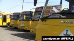Armenia -- Commuter buses in Abovian, 11July, 2012.