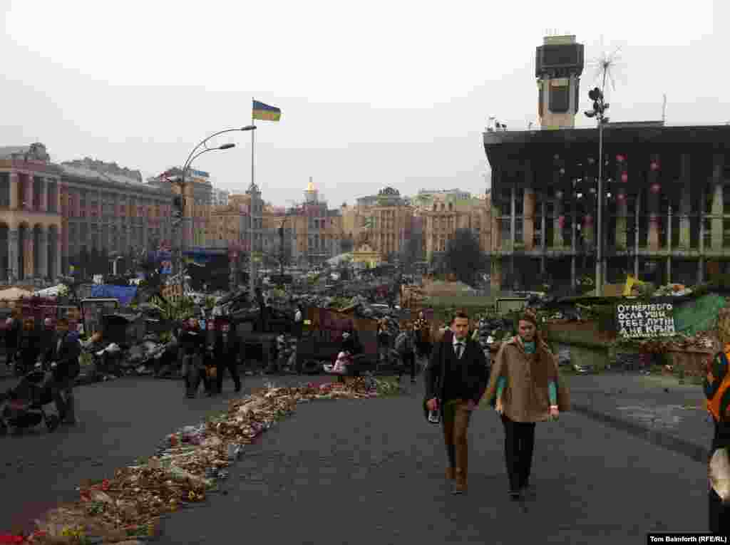 Independence Square still bears the scars of a few tumultuous months.