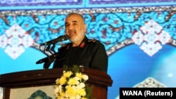 Commander-in-chief of the Islamic Revolutionary Guard Corps Hossein Salami delivers a speech during the forty-day memorial, of Iran's Qods Force commander Qassem Soleimani. February 13, 2020