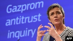 "European Competition Commissioner Margrethe Vestager says Gazprom's offers have eased concerns and provided ""a forward looking solution."" (file photo)"