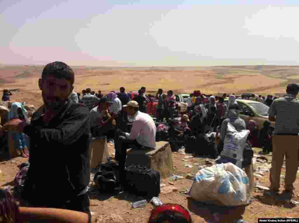 Сүриядән килгән көрд качаклары Гыйрак ягында тиешле качак лагерына алып китүне көтә