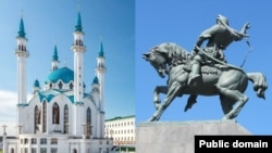 Қазандағы Құл Шәріп мешіті (оң жақта) және Уфадағы Салават Юлаев ескерткіші.