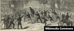 """""""Знаменитый бунт из-за виски в Пенсильвании"""". На рисунке изображен сборщик налогов, которого вымазали дегтем, обваляли в перьях и везут верхом на шесте. Впоследствии дело приняло настолько серьезный оборот, что президент Вашингтон лично возглавил войска, направленные на усмирение восставших фермеров. Зачинщики были осуждены, но помилованы Вашингтоном."""
