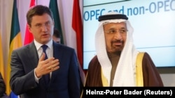 Russia's Energy Minister Alexander Novak (L) and Saudi Arabia's Energy Minister Khalid al-Falih