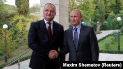 Igor Dodon și Vladimir Putin, la Soci, 10 octombrie
