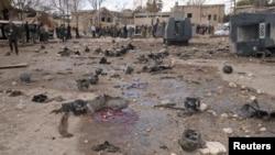 آثار تفجيرات شهدتها حلب في العاشر من شباط الجاري