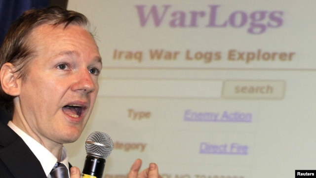 WikiLeaks founder Julian Assange speaks during a London news conference on the release of secret documents about the Iraq war on October 23.
