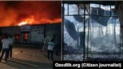Пожар на рынке «Хабиб» в Сурхандарье.
