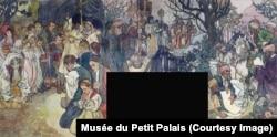 O friză care ilustrează credințele catolică, ortodoxă și musulmană, cele trei religii majore ale țării. Spațiile negre sunt decupate în locul unde erau amplasate ușile sau ferestrele în timpul expoziției.