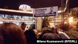 Potpisivanje peticije za puštanje na slobodu Aleksandra Obradovića (Valjevo, 15. novembra)