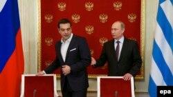 Прем'єр-міністр Греції Алексіс Ципрас та президент Росії Володимир Путін у Кремлі, Москва, 8 квітня 2015 року