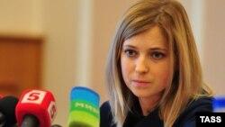 Наталья Поклонская в ходе общения с прессой, Симферополь, 19 марта 2014 года