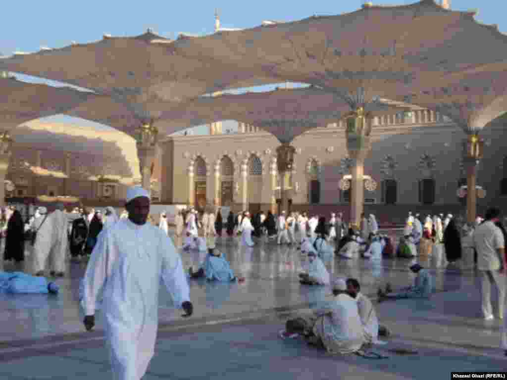 The courtyard of the Mosque of the Prophet in Medina City