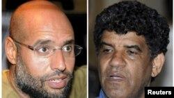 Муаммар Каддафидің ұлы Саиф әл-Ислам (сол жақта) мен Ливияның бұрынғы барлау қызметі басшысы Абдулла әл-Сенусси.