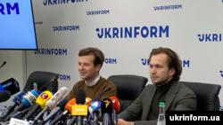 Антон Раднянкоў і Іван Краўцоў на прэс-канфэрэнцыі ў Кіеве