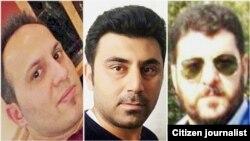 Three of the arrested Iranian Steel workers; Morteza Akbarian, Meysam Ali Ghanavati and Farhad Akbarian.