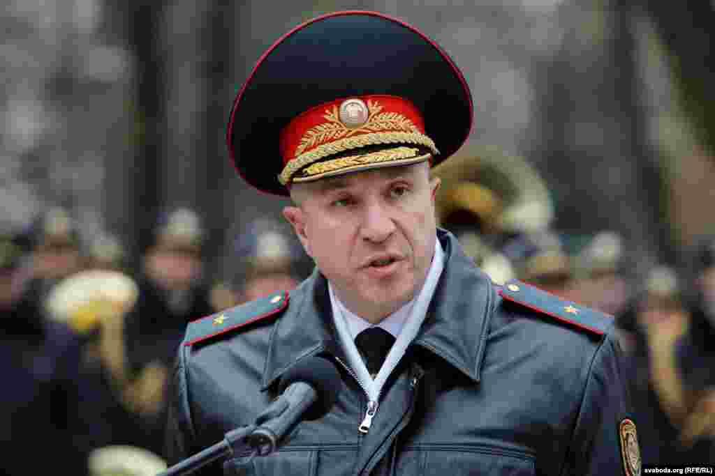 Міністр унутраных спраў Юры Караеў падчас прамовы