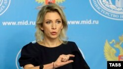 Russia -- Russian Foreign Ministry spokeswoman Maria Zakharova speaks at a press briefing in Moscow, October 6, 2015