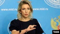 Мария Захарова, орус ТИМинин өкүлү. Москва, 6-октябрь, 2015.