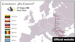 """Harta proiectului rutier """"Via Carpatia"""""""