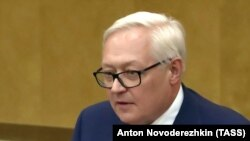 RUSSIA -- Russian Deputy Foreign Minister Sergei Ryabkov speaks during a session of the State Duma in Moscow, June 18, 2019