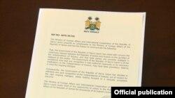 Dokumenti i siguruar nga REL ku thuhet se Siera Leone ka tërhequr njohjen e pavarësisë së Kosovës.