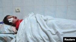 Журналист Татьяна Чорновил лежит под системой в больнице Киева. 25 декабря 2013 года.
