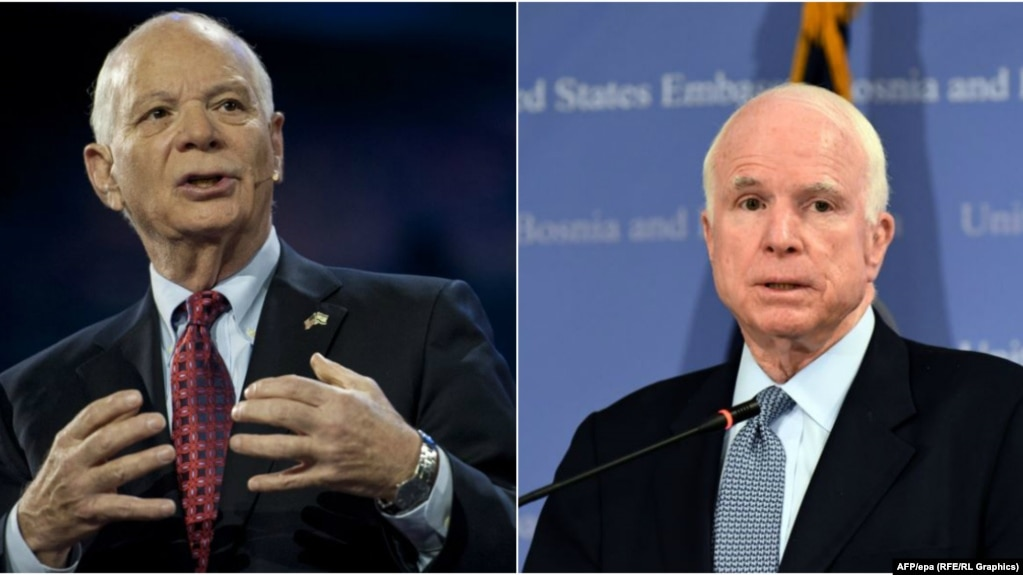 Democrat senator Ben Cardin (left) and Republican senator John McCain (right) have been pushing efforts to impose new economic sanctions on Moscow.(composite file photo)