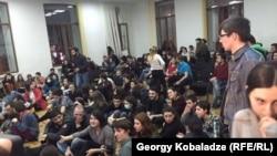 Акция протеста студентов в Тбилисском университете, март 2016 года