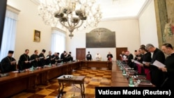 Під час дводенної зустрічі папи Римського Франциска з ієрархами Української греко-католицької церкви (УГКЦ). Ватикан, 5 липня 2019 року
