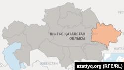 Semey qalası ornalasqan Şığıs Qazaqstan oblısınıñ kartadağı ornı (Körneki suret).