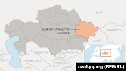 Шығыс Қазақстан облысының картасы.