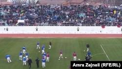 Pamje nga ndeshja e parë miqësore ndërkombëtare ndërmjet Kosovës e Haitit e zhvilluar në Mitrovicë më 5 mars 2014
