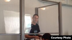 Евгений Танков үкім шығар алдында соңғы сөзін айтып тұр. Қарағанды, 23 шілде 2014 жыл.