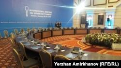 Сирия дағдарысын бейбіт реттеу келіссөзі өтетін Rixos President Astana қонақүйінің залы. Астана, 23 қаңтар 2017 жыл.
