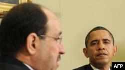 الرئيس الأميركي باراك أوباما ورئيس الوزراء العراقي نوري المالكي في البيت الأبيض بواشنطن في 20/10/2009